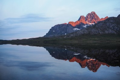 Reflection of Vågakallen, Lofoten, Northern Norway