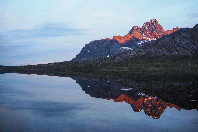 Reflection of Vågakallen, Lofoten, Northern Norway