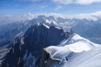 Ridge down from Auguille du Midi, Chamonix, France