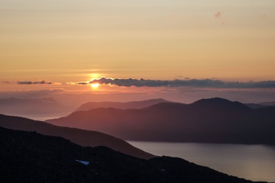Sunset from Stora Blåmannen, Kvaloya, Northern Norway