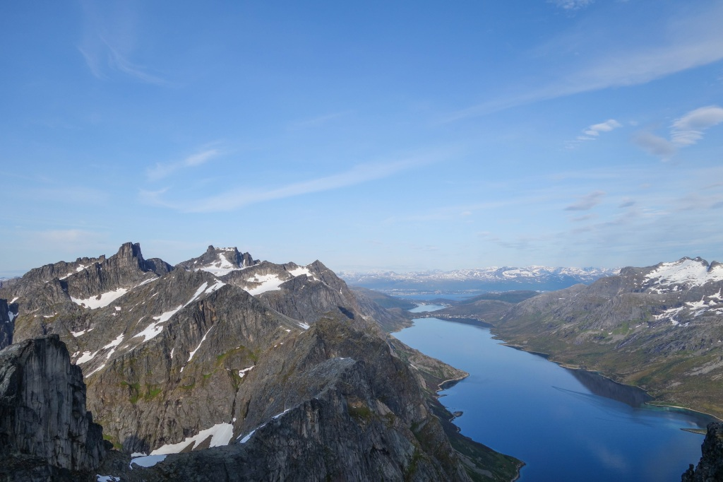 Ersfjordtraversen. The pillar on far left is Stortolpan. Seems far away but is only quarter of the whole distance.
